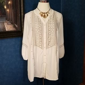 Catherine's 3X Embroidered Blouse Off White Cream